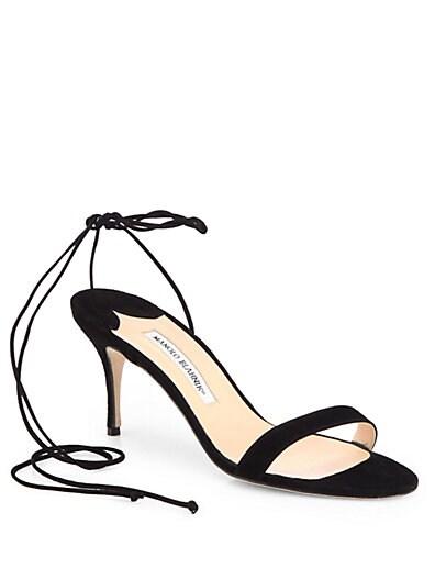 Minchi Suede Ankle-Tie Sandals