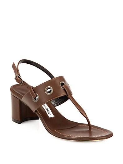 Entente Leather Grommet Slingback Sandals