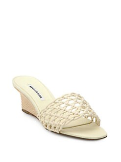 Manolo Blahnik - Tolesi Woven Wedge Sandals