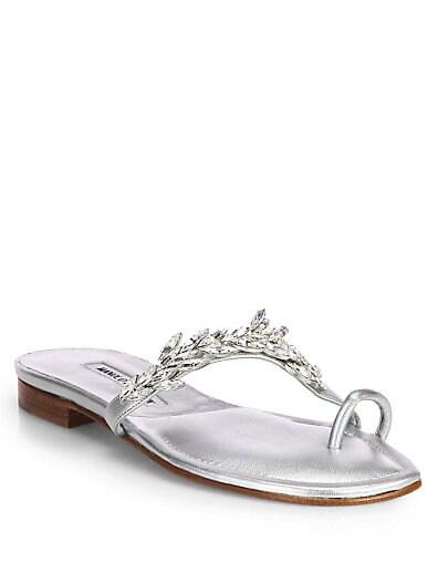 Nadira Jeweled Metallic Leather Sandals