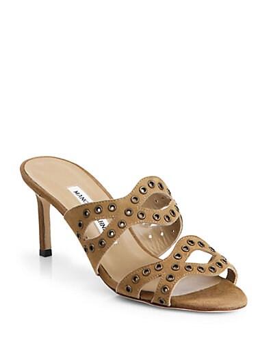 Cridamu Suede Grommet Sandals