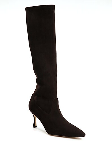 a854e251e3a87 Manolo Blahnik Pascalare Suede Knee High Boots on PopScreen
