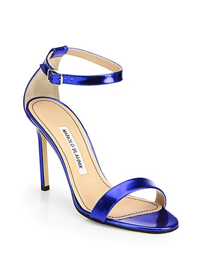 Chaos Metallic Patent Leather Ankle-Strap Sandals