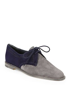 Manolo Blahnik - Piloa Two-Tone Suede Oxfords