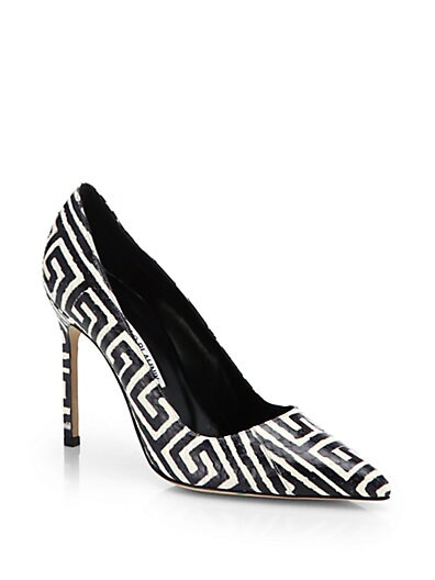 BB Graphic-Print Snakeskin Pumps