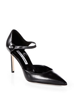 Manolo Blahnik - Norvany Leather Mary Jane Pumps