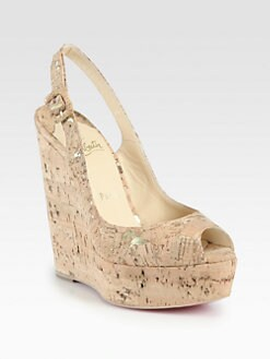 Christian Louboutin - Plume Cork Wedge Slingback Sandals