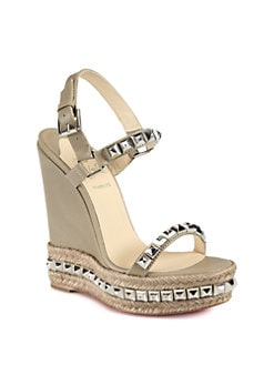 Christian Louboutin - Cataclou Studded Leather Espadrille Wedges