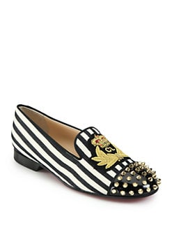 Christian Louboutin - Intern Striped Canvas & Studded Patent Smoking Slippers