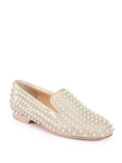 Christian Louboutin - Rolling Spikes Patent Leather Smoking Slippers