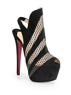Christian Louboutin - Guizi Suede & Mesh Platform Ankle Boots