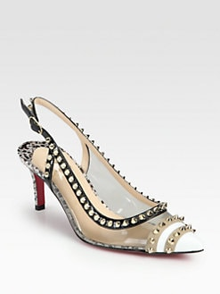Christian Louboutin - Manovra Translucent & Studded Patent Leather Slingback Pumps