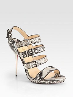 Christian Louboutin - Funky Snakeskin Buckle-Up Sandals
