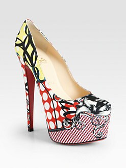 Christian Louboutin - Daffodile-Print Satin Platform Pumps