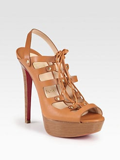 Christian Louboutin - Hall Ball Leather Lace-Up Platform Sandals