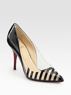 Christian Louboutin - Pivichic Striped Patent Leather Pumps