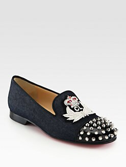 Christian Louboutin - Intern Spiked Denim & Patent Leather Loafers