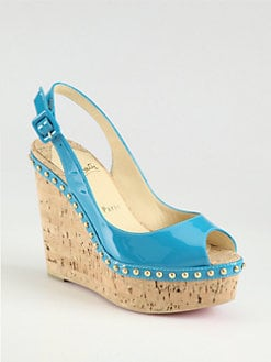 Christian Louboutin - Monico Studded Patent Leather Cork Wedge Slingbacks