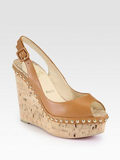 Christian Louboutin - Monico Studded Leather Cork Wedge Pumps
