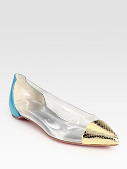 Christian Louboutin - Corbeau Patent & Metallic Leather Ballet Flats