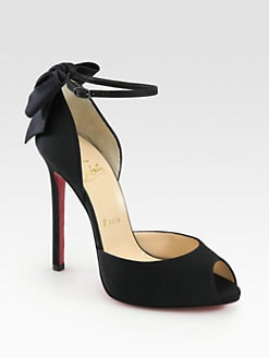 Christian Louboutin - Dos Neoud Satin Ankle Strap Pumps