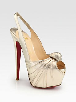 Christian Louboutin - Miss Benin Metallic Leather Knot Platform Pumps