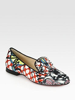 Christian Louboutin - Sakouette Studded Satin Loubi-Print Smoking Slippers