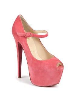 Christian Louboutin - Lady Highness Suede Mary Jane Platform Pumps