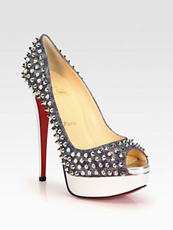 Christian Louboutin - Lady Studded Lame & Metallic Leather Platform Pumps