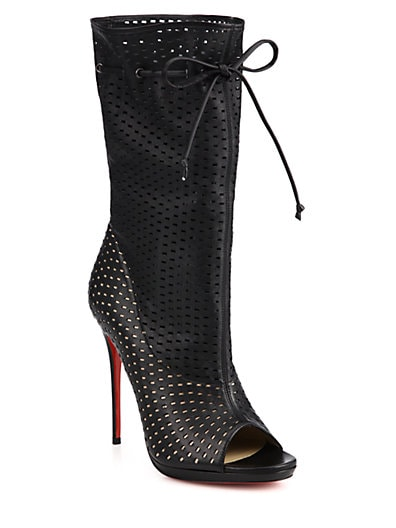 CHRISTIAN LOUBOUTIN Black Perforated Leather 'Jennifer 120' Open-Toe Boots' at Saks Fifth Avenue