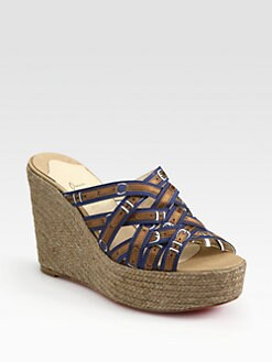 Christian Louboutin - Crepon Silk Espadrille Wedge Sandals
