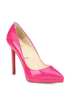 Christian Louboutin - Pigalle Plato Patent Leather Point Toe Platform Pumps