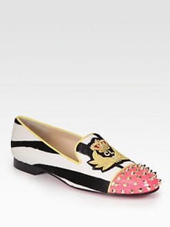 Christian Louboutin - Intern Studded Pony Hair  & Patent Leather Smoking Slippers