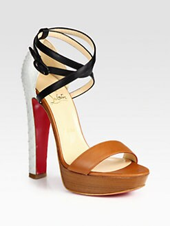 Christian Louboutin - Leather and Python Colorblock Platform Sandals