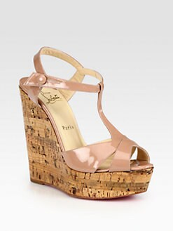 Christian Louboutin - Marina Liege Patent T-Strap Wedge Sandals