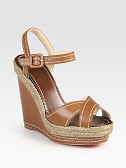 Christian Louboutin - Leather Slingback Espadrille Wedge Sandals