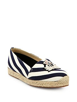 Christian Louboutin - Galia Striped Canvas Espadrille Flats