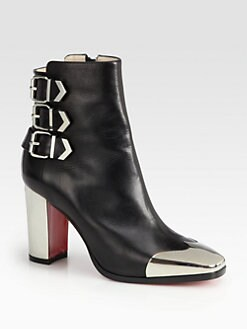 Christian Louboutin - Chelita Leather & Metal Wing-Tip Ankle Boots