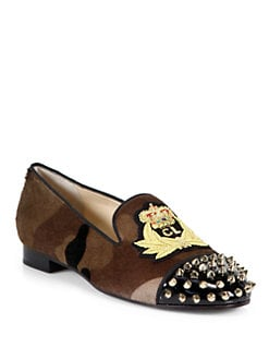 Christian Louboutin - Intern Pony Hair & Studded Leather Smoking Slippers