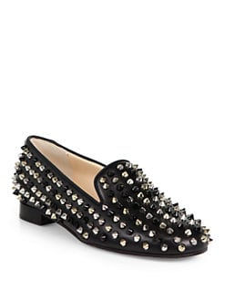 Christian Louboutin - Rolling Spikes Leather Smoking Slippers