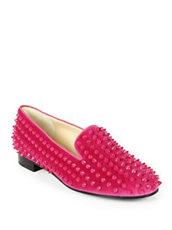 Christian Louboutin - Rolling Spikes Velvet Smoking Slippers