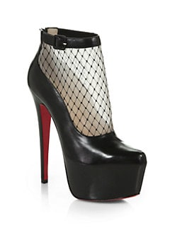 Christian Louboutin - Resillissima Leather & Mesh Platform Ankle Boots