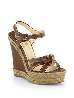 Christian Louboutin - Zero Problem Leather Espadrille Wedge Sandals