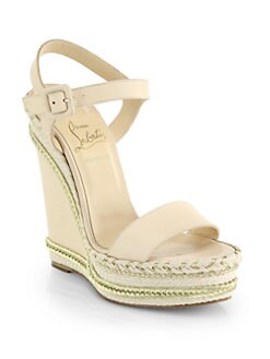 Christian Louboutin - Duplice Leather Espadrille Wedge Sandals