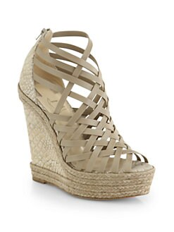 Christian Louboutin - Tramontagne Leather & Cork Wedge Sandals