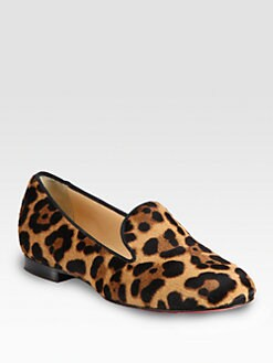 Christian Louboutin - Sakouette Leopard-Print Pony Hair Smoking Slippers