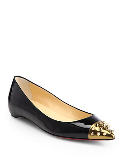 Geo Patent Leather  Spiked Cap-Toe Ballet Flats