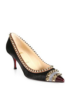 Christian Louboutin - Malabar Hill Spiked Pony Hair & Leather Pumps