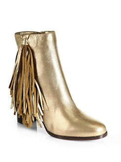 Christian Louboutin - Jimmynetta Metallic Leather Fringe Ankle Boots