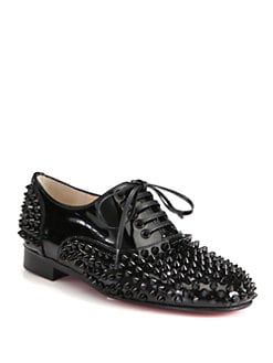 Christian Louboutin - Freddy Studded Patent Leather Lace-Up Oxfords